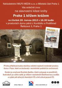 Pozvánka na křest knihy Praha 1 křížem krážem